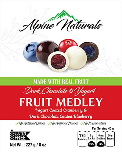 Alpine Naturals Fruit Medley Dark Chocolate Blueberries & Yogurt Cranberries, 8 Ounce Candy Chocolate Dried Fruit