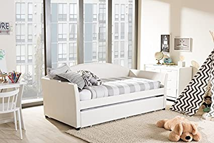 Amazon.com: baxton studio lucille modern and contemporary white faux
