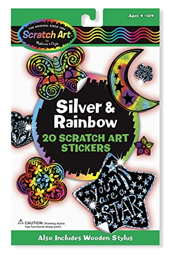 Melissa & Doug Scratch Art Silver and Rainbow Stickers, Includes 20 - Colored Rainbow Hearts