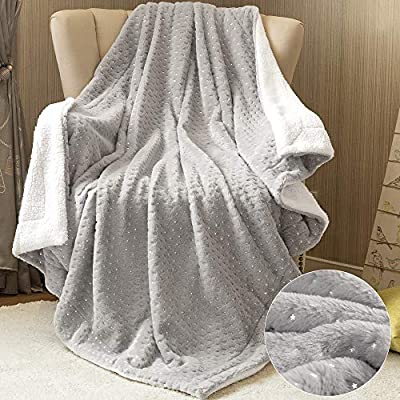 jinchan Throw Blanket Grey Star Foil Soft Faux Rabbit Fur Coverlet Girl Warm Fluffy Throw for Couch Sofa Bed Recliner Living Room Nursery Bedroom Gift Kids Teens Winter Year Round 50 by 60 Inches: Home & Kitchen