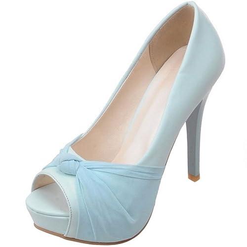 Moda Mujer Toe Peep Zapatos Sin Plataforma Court Cordones Taoffen wC45qOx5