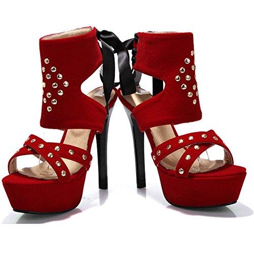 Sandales Hauts Red Femmes Plateforme Taoffen Talons qBtxEt
