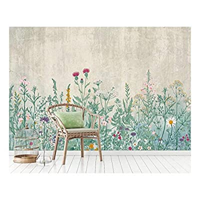 Large Wall Mural - Retro Style Flowers and Plants with Vintage Wall Background | Self-Adhesive Vinyl Wallpaper/Removable Modern Wall Decor - 66x96 inches