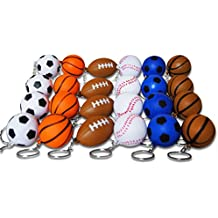 Novel Merk 24-Piece Sports Ball Keychains for Kids Party Favors School Carnival Prizes and Business Promotional Items Includes 4 Each of 6 Different Designs