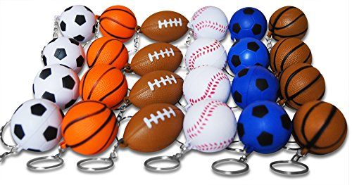 Sports Ball Keychains for Kids Party Favors School Carnival Prizes and Business Promotional Items Includes 4 Each of 6 Different Designs (Sport Key Ring Keychain)
