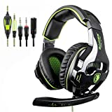 2018 NEW Version SADES SA810 3.5mm Multi-Platform Stereo Sound PC Gaming Headset, Over-ear Gaming Headphones with Mic for New Xbox one/PS4/PC Laptop/Mac/iPad/iPod(Black&green)