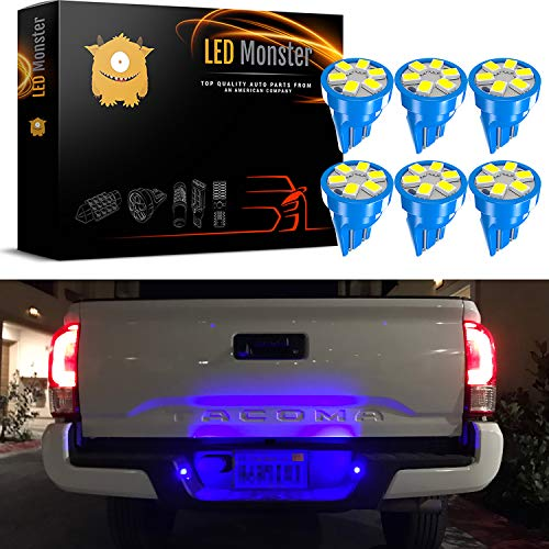 LED Monster 6x T10 194 Wedge Blue LED Lights Bulbs for License Plate Lamps License Frame Tag Number Plate (6) ()