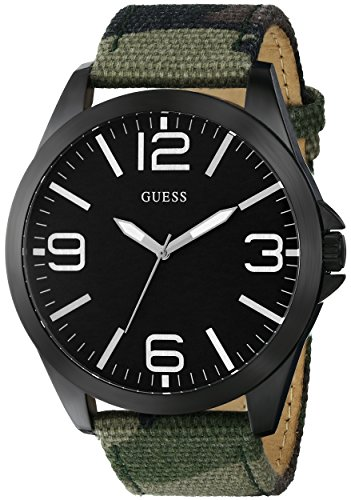 GUESS Men's U0181G5 Casual Watch on a Camoflauge Print Canvas Genuine Leather-Backed Strap