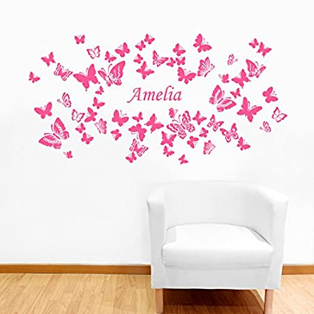Personalised girls name in butterflies childrens wall sticker art vinyl decal transfer bedroom