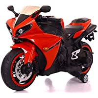SR ENTERPRISES Battery Operated Ride on Bike R1 with Hand Accelerator, Foot Brake, USB Panel and Lights in Wheels - Rechargeable (Red)