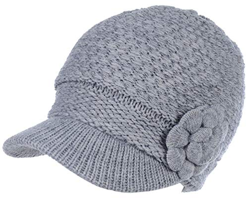 (BYOS Womens Winter Warm Fleece Lined Knitted Beret Beanie Hat Cap w/Visor, Various Styles (Waffle Knit W/Flower -)