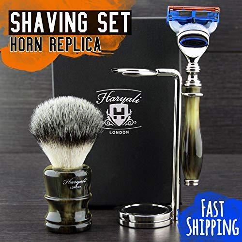 Luxury Gillette Fusion Wet Shaving Set for Him || 2 colours available || Silver Tip Synthetic Badger & Gillette Fusion Compatible Razor + Stainless Steel Shaving Stand - Premium Horn Replica Resin Handles - Designed & Branded by Haryali London > Great addi