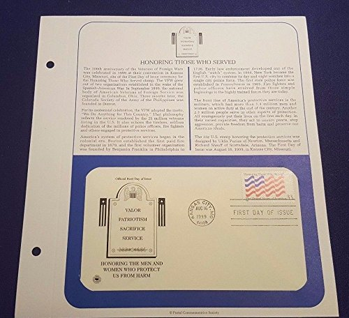 PCS Aug 16th 1999 HONORING THOSE WHO SERVED First Day Issue Cover on Sheet