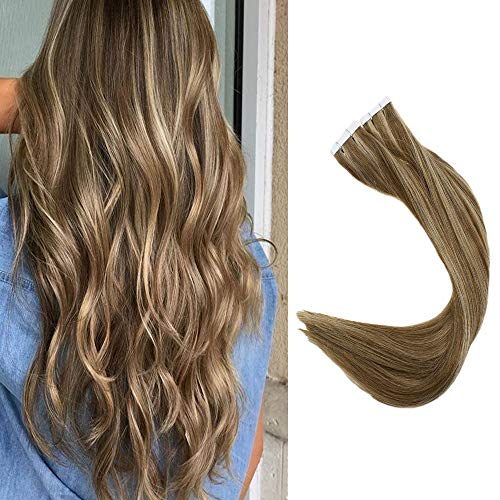 "Full Shine 18"" Seamless Hair Extensions 100 Human Hair 40 Pieces Per Pack Color #10 Golden Brown and #16 Golden Blonde Highlight Human Hair Tape in Full Head 100g"