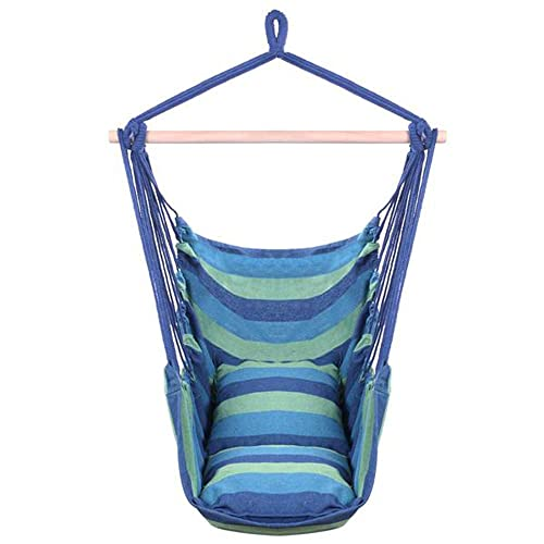 Tenozek Distinctive Cotton Canvas Hanging Rope Chair with Pillows Blue TN-27217980-GT1