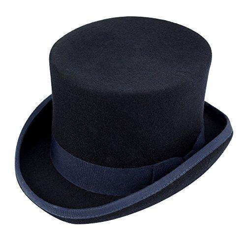 Chuangli Men's 100% Wool Victorian Mad Hatter Top Hat Vivi Magic Hat Performing Cap Navy Blue (Circus Magician Costume)