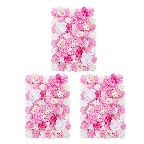 Prettyia Pieces of 3 Romantic Silk Flower Wall Panel Mat Indoor Outdoor Home Garden Hanging Wedding Venue Decor Hot Pink 40 x 60cm from Prettyia