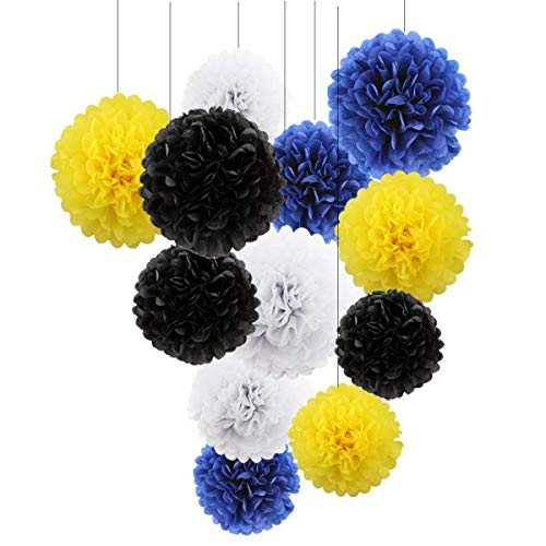 (HEARTFEEL Tissue Paper Pom Poms Decorations-12 pcs of 8,10,12Inch-Paper Flowers,balls for Wedding Party Baby Shower Decor/Birthday Celebration(yellow white blue black))