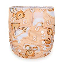 "Kawaii Baby Newborn Reusable Cloth Diaper Pure & Natural 6-22 Lb. With 2 Microfiber Inserts ""Milk Time"""