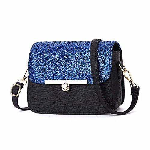 MSZYZ Regalos de Navidad una pequeña bolsa con una pequeña mochila y una pequeña bolsa con una sola bolsa de hombro negro Blue