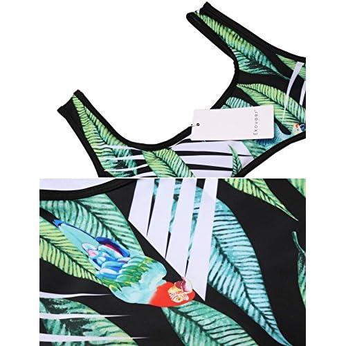 Ekouaer Women Padded Hollow Out Keyhole Print One Piece Swimsuit Swimwear