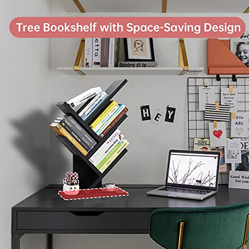 Tree Bookshelf,4-Tier Small Book Shelf Floor Standing Bookcase in Living Room Home Office,Space Saving Tree Display Organizer Storage Rack for CDs Movies Books