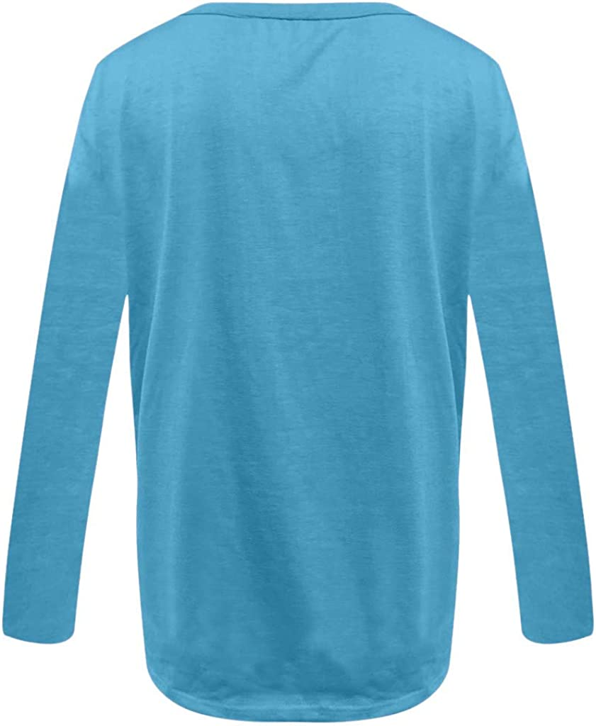 Womens Casual Vneck T-Shirt Long Sleeve Letter Print Blouse Tops Plus Size
