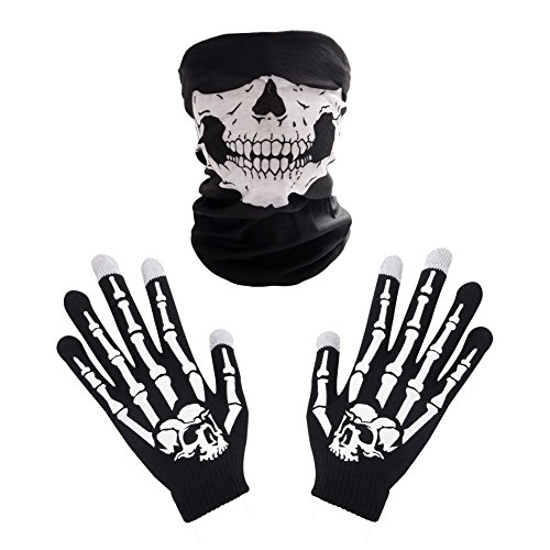Halloween Skeleton Gloves (Winter Touchscreen Warm Black Gloves, Skeleton Knit Skull Gloves Halloween by Dsane)