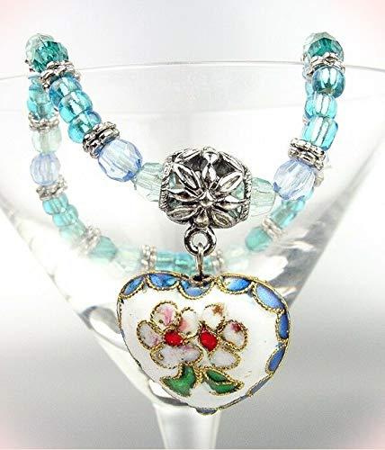 (Artisanal White Multi Floral Cloisonne Enamel Heart Charm Beads Stretch Bracelets For Women)