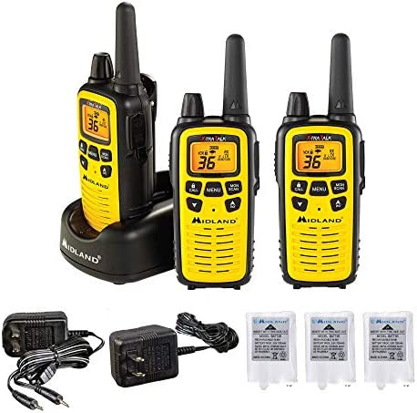 Midland – LXT630VP3, 36 Channel FRS Two-Way Radio – Up to 30 Mile Range Walkie Talkie, 121 Privacy Codes, NOAA Weather Scan Alert 3 Pack Yellow Black