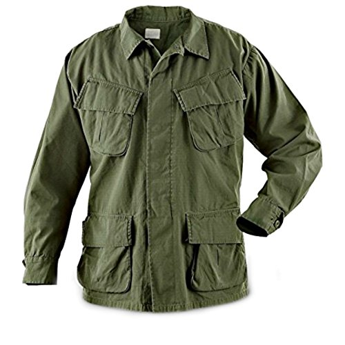 - RICHARD WYNN Vintage Official U.S. Military Issue Vietnam Era OD Slant Pocket Jungle BDU Fatigue Shirt
