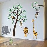 Nursery Tree Wall Stickers Animal Monkey Jungle Safari Kids Wall Art Decals Sticker --- PD267/ Direction A