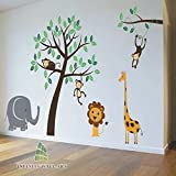 Nursery Tree Wall Stickers Animal Monkey Jungle Safari Kids Wall Art Decals Sticker --- PD267/ Direction A