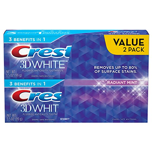 Crest 3D White Whitening Toothpaste, Radiant Mint, 3.5 oz, Pack of 2 (Toothpaste Mint White)