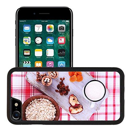 Liili Apple iPhone 7 iPhone 8 Aluminum Backplate Bumper Snap iphone7/8 Case iPhone6 IMAGE ID 33562412 Bowl of oatmeal mug of yogurt marmalade chocolate raisins dried apricots and walnuts on wooden c