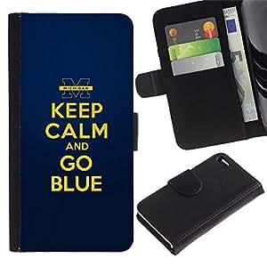 All Phone Most Case / Oferta Especial Cáscara Funda de cuero Monedero Cubierta de proteccion Caso / Wallet Case for Apple Iphone 4 / 4S // Gold Yellow Keep Calm Quote Motivational