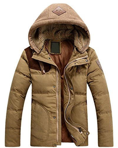 Top-EC Men's Thicken Down Winter Coats Trench Jacket Hooded,US(Medium)/ASIAN-XL,Khaki