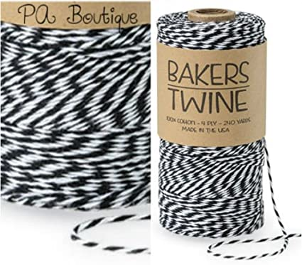 Tuxedo Black /& White Duo 4-ply 100/% Cotton Baker/'s Twine *Your Choice of Length*
