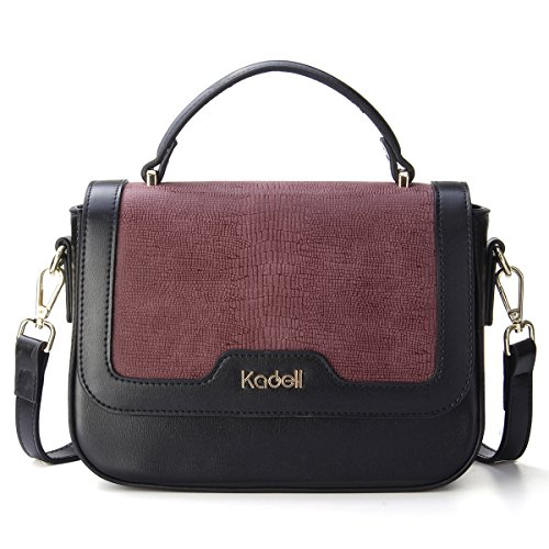 Kadell Women Leather Handbags Shoulder Bags Stitching Flip Small Square Satchel Purse Wine Red