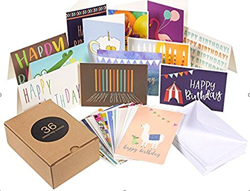 144 Pack Assorted Greeting Happy Birthday Cards - Bulk Box Variety Set Includes 36 Unique Designs and White Envelopes, 4 x 6 Inches Folded