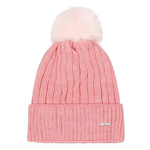 XUANOU Women Hairball Letter Winter Keep Warm Crochet Ski Hat Braided Cap