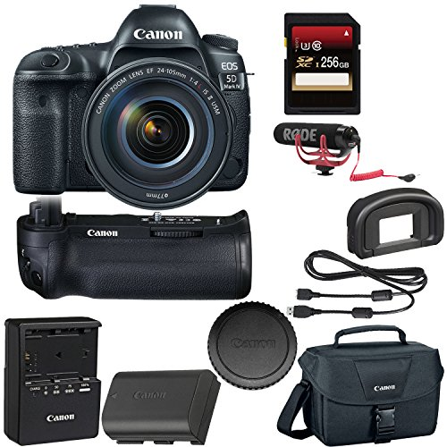 Canon EOS 5D Mark IV DSLR Camera with 24-105mm f/4L II Lens + Canon BGE20 Grip + 256GB SDXC Card + Rode VideoMic GO + More