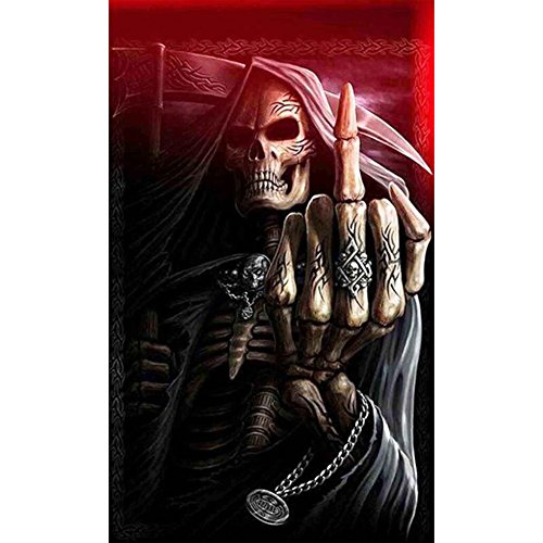 5D DIY Full Diamond Painting Kit, Grim Reaper Skull Diamond Painting Full Drill Embroidery Adults Kids Room Wall Decoration (11.8 x 19.7 (Grim Reaper Paper)