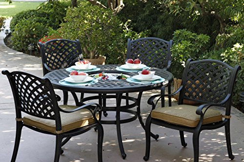 Darlee Nassau Cast Aluminum Piece Dining Set With Seat Cushions - 52 inch round outdoor dining table