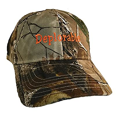 Trump Deplorable Licensed Realtree Camo Flex-Strap Hat Embroidered in NC