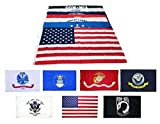 Wholesale Lot 3×5 ft 5 Branches Military, POW, and USA Flags – 3'x5′ Banner Grommets – Air Force, US Navy, Coast Guard, Marines, Army Flags For Sale