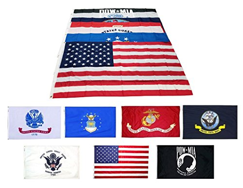 Wholesale Lot 3x5 ft 5 Branches Military, POW, and USA Flags - 3'x5' Banner Grommets - Air Force, US Navy, Coast Guard, Marines, Army Flags