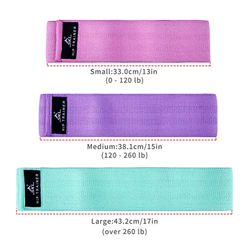 SKL Resistance Bands Set Exercise Band Non Slip Fabric Workout Bands for Strength Training, Physical Therapy, Yoga…