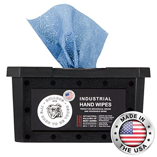 Bulldog Heavy-Duty All-Purpose Anti-Bacterial Cleaning Wipes | Tough on Grease, Dirt, Paint and Grime | Great for Home, Mechanics, Contractors, Plumbers, Painters| 6 X 8 Inches | 70 Wipes/Container