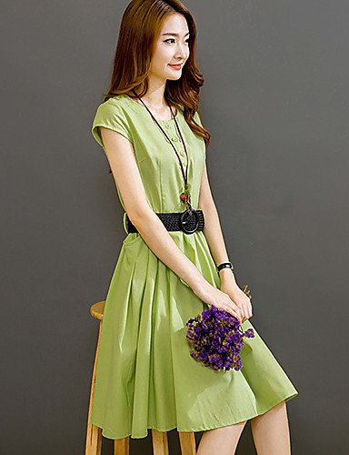 PU&PU Robe Aux femmes Trapèze Street Chic,Couleur Pleine Col Arrondi Mi-long Lin , green-m , green-m